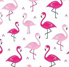PINK **Flamingo** on 100% WHITE cotton fabric **baby bird nursery children**