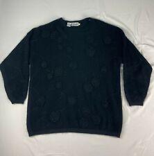 Vtg 80s Rafaella fuzzy angora rabbit / lambswool black Womens 1X Sweater