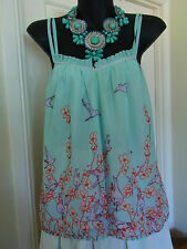 Stunning Ladies Birds Of A Feather Pale Blue Bird Sheer Singlet Top VGC Size 6
