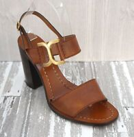 CHLOE 39.5 Cognac Brown Leather Double Band Ankle Strap Sandals Heels 9