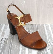 e91fd201cf2 CHLOE 39.5 Cognac Brown Leather Double Band Ankle Strap Sandals Heels 9