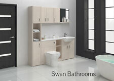 WHITE AVOLA BATHROOM FITTED FURNITURE 1800MM WITH WALL UNITS