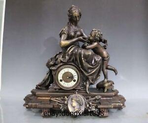 "23"" Europe Retro Bronze Mechanical Clockwork Women Boy Art Table Clock Timepiece"