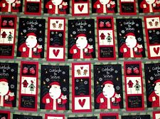 """BTY*CHRISTMAS PATCHWORK SANTA/ TREES/BIRDHOUSES COTTON FLANNEL FABRIC 42X36"""""""