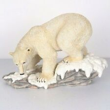 "Polar Bear on Snow Covered Rock Detailed Figurine Miniature Statue 11""L New"