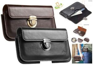 """Horizontal Phone Pouch Flip Leather Case Cover Belt Holster Card Hardware 5.7"""""""