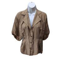 Chaus Womens 18W Silk Blouse Short Sleeve Button Light Brown Top Shirt