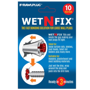 Rawlplug Wet-N-Fix Repair Solution Pads Loose Wall Plug Repair