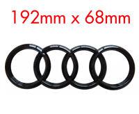 Black Gloss Rear Back Audi Badge Rings Logo Emblem Audi A3 A4 A5 A6 192mm x 68mm
