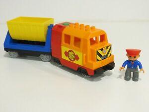 Lego Duplo E-Lok / batteriebetriebene Lok mit Anhänger und Lokführer