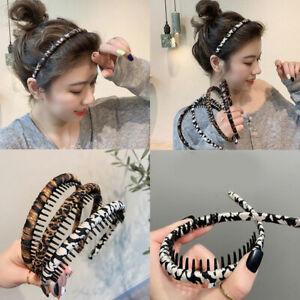 Retro Leopard Hairband Braided Headband Women Non-slip Hair Hoop Girls Hair Band