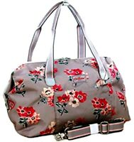 Cath Kidston Small Framed Holiday Overnight Bag Holdall Anemone Bouquet in Grey