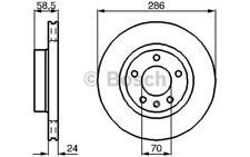 BOSCH Juego de 2 discos freno 286mm ventilado OPEL OMEGA VAUXHALL 0 986 478 594