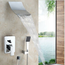 Chrome Bathroom Waterfall Shower Faucet Set+Rainfall Hand Held Shower Mixer Tap