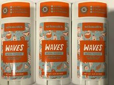 Schmidt's Natural Deodorant Stick Waves New 3 Pack Free Shipping 3.25 Oz