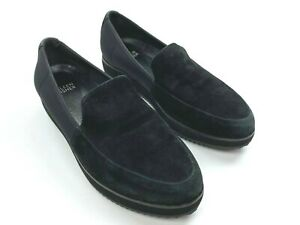 Eileen Fisher Black Dell Suede Platform Loafers Slip On Leather Lined Women 8.5