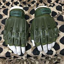 New Valken Alpha Half Finger Padded Paintball Gloves - Olive - Medium/Large