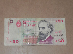 Uruguay 50 Pesos Banknote 2000 P-75b Serie B TDLR Circulated JCcug 3v