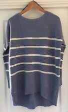 BNWT Ladies JOULES Marnia Chambray Blue White Wool Cashmere Mix Jumper - Size 12