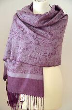 Pashmina Schal Tuch Stola Paisley gewebt 100% Viskose Flieder Lila ca.184x72cm
