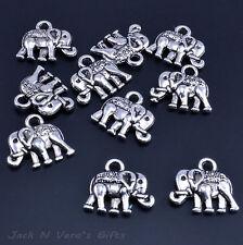 ELEPHANT CHARMS PENDANTS  -  Antique Silver Colour Plated 10 Pcs  - Crafts