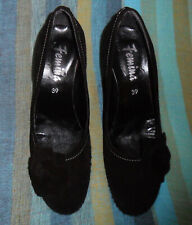 New listing Vintage Black Suede Wedge Shoes, Retro Style w/ Flower From France, Sz 39 or 8.5
