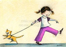 ACEO Archival PRINT - Going for a Walk - cat, pets, children, humor, art, artist