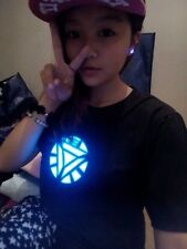 LED T-shirt Iron Man Arc Reactor Tony Stark Allument Clignotant Sonore Activé