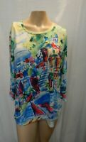 NEW Christopher & Banks Womens Large Multi-Color Long Sleeve Embellished Blouse