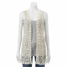 New Women's 100% Cotton Lace crochet vest sleeveless Open Cardigan Size Small