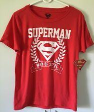 New Superman Man Of Steel Tee Shirt Juniors Size Medium (7-9) Red Short Sleeves