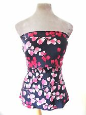 Black Red Pink Oriental Blossom Pure Smooth Silk Bandeau strapless tube Top S/M