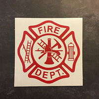 Fire Fighter Fireman Hydrant Hook Ladder Maltese Cross Dept Vinyl Decal Sticker