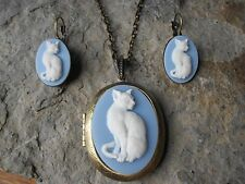 WHITE CAT ON WEDGEWOOD BLUE CAMEO  LOCKET and FRENCH EARRINGS SET) - BRONZE