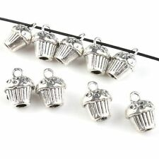 20pcs Wholesale Antique Silvery Cupcake Charms Alloy Pendants Findings Charms J