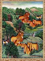 Indian Miniature Art Painting Of Lion Handmade Wildlife Nature Art On Paper