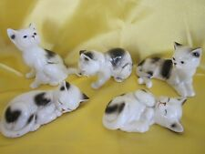 Five Enesco Cat Figurines 1986