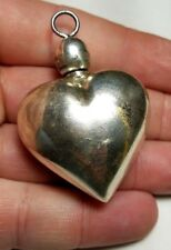 ESTATE STERLING MEXICO PERFUME BOTTLE PUFFED HEART PENDANT-EMP PLAT MEX SA D.925