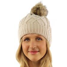 Ladies Soft Sherpa Lining Thick Knit Faux Fur Pom Pom Beanie Ski Hat Cap Beige