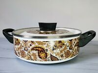 """Vintage Enamelware Paisley Brown Enamel Kitchen Fancipan Pot ~ 3"""" x 9"""""""