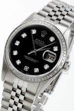 Rolex Men's Datejust Steel Black Diamond Dial & Bezel Jubilee Quickset 16014