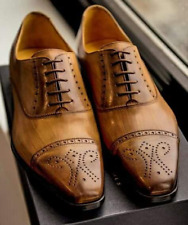Handmade Men's Brown Leather Lace Up Toe Cap Brogue Fashion Dress Shoes