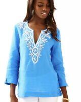 Lilly Pulitzer Top Amelia Island Tunic Medium Blue Beaded Shirt Linen Blouse