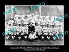 OLD HISTORIC PHOTO OF GAINESVILLE, FLORDIA UNIVERSITY GATORS BASEBALL TEAM c1924