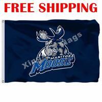 Manitoba Moose Logo Flag AHL American Hockey League 2018 Banner 3X5 ft