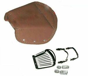 For Royal Enfield Ariel Triumph BSA Lycett Tan Faux Leather Rear Saddle Seat ECs