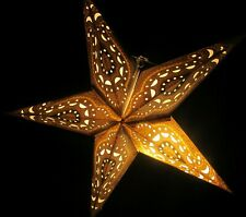 """24"""" Gold Glitter Paper Star Hanging Lantern Lamp (Light Cord Is Included) # 4"""