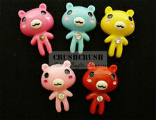 FREE SHIPPING 12pcs Killer Gloomy Teddy Bear Flat Back Cabochons Rhinestone F981