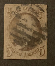 TDStamps: US Stamps Scott#1 5c Franklin Used Spot Thin