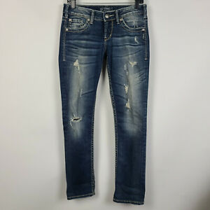 Silver Berkley Straight Leg Distressed Dark Wash Womens Jeans Size 26x32